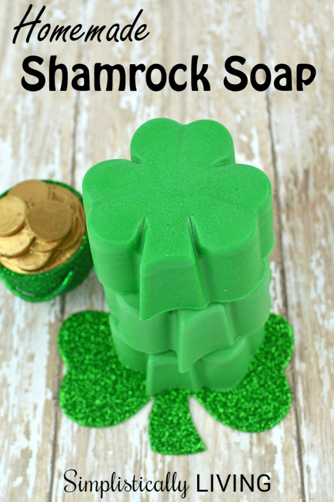 homemade glycerin shamrock soap for st. patrick's day