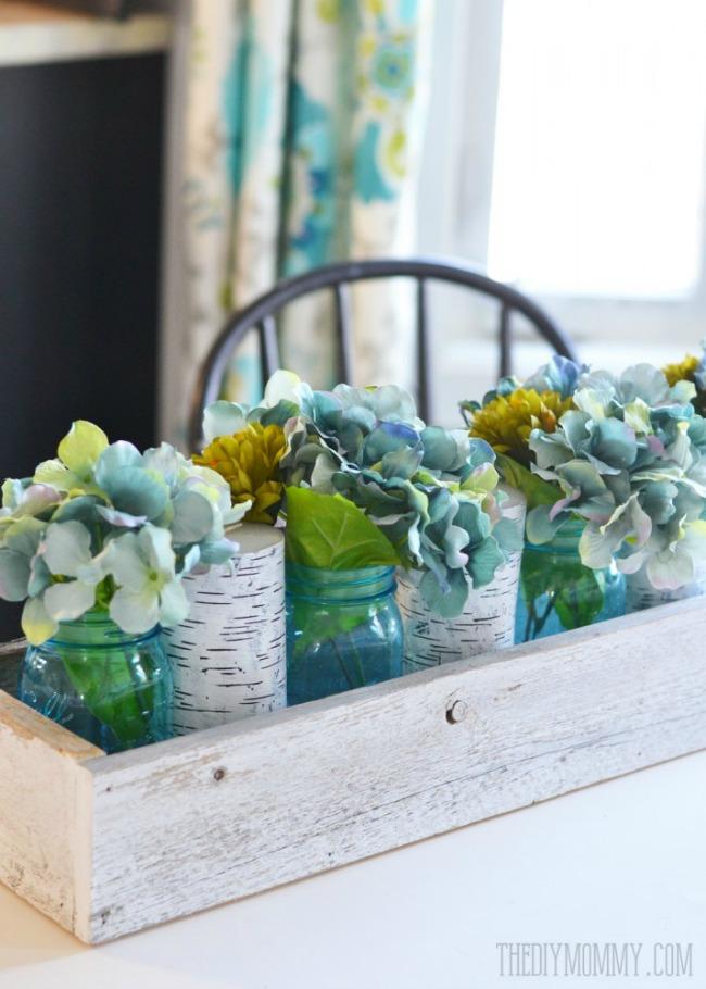 spring hydrangea and mason jar centerpiece