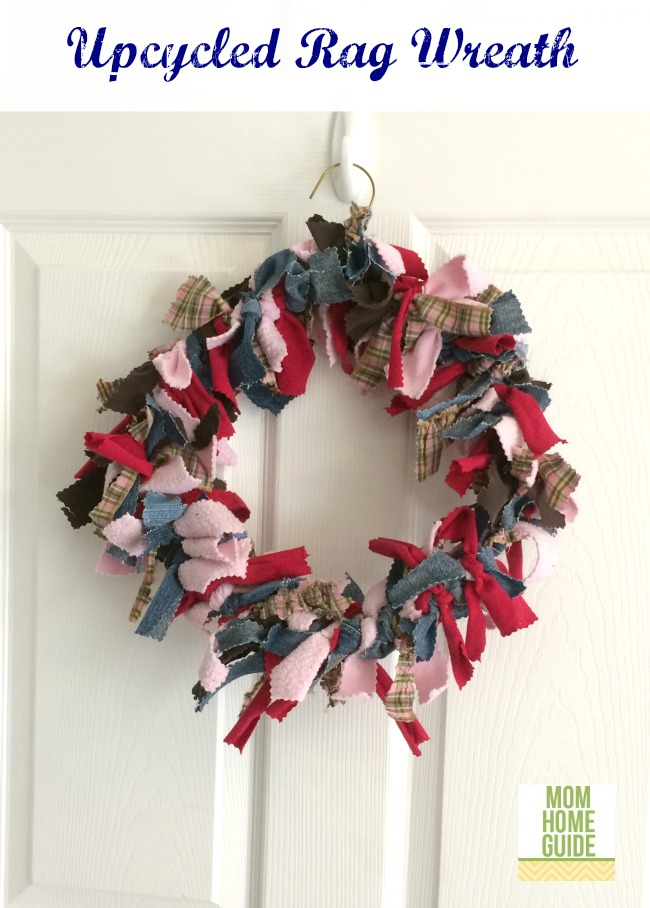 upcycled rag wreath craft for Earth Day