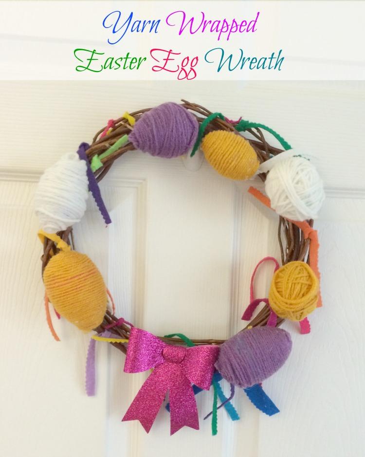 yarn wrapped easter egg wreath