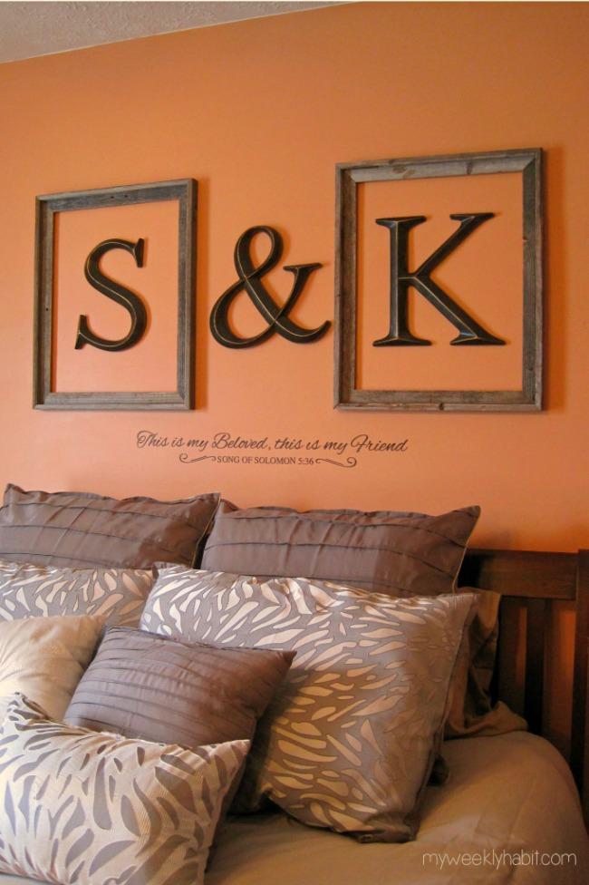 DIY framed monograms for bedroom decor