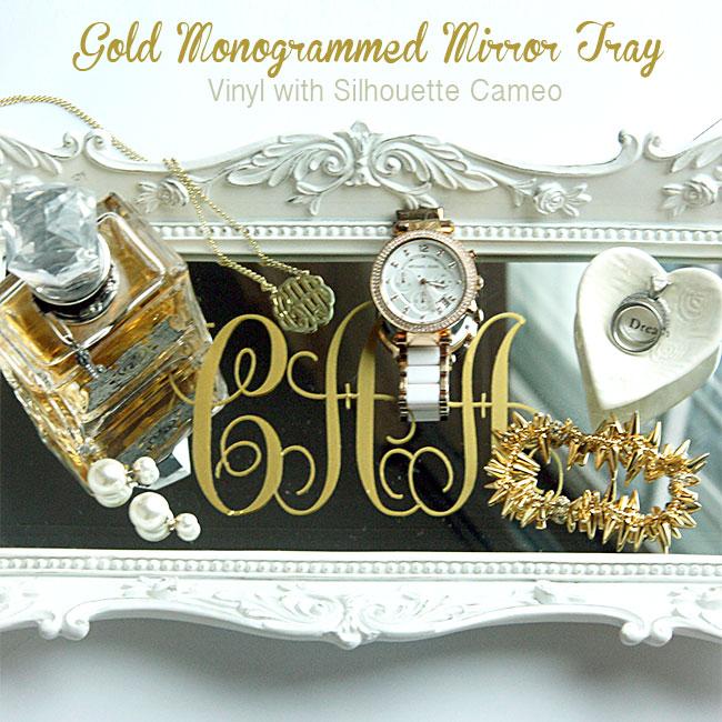 gold monogram mirror tray