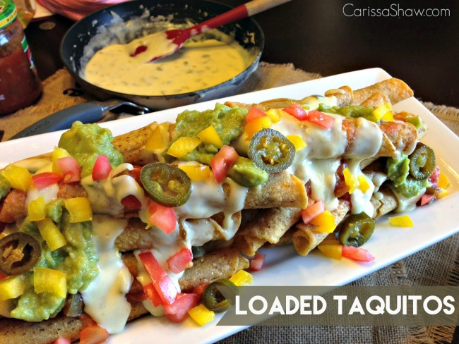 loaded taquitos and queso  blanco dip