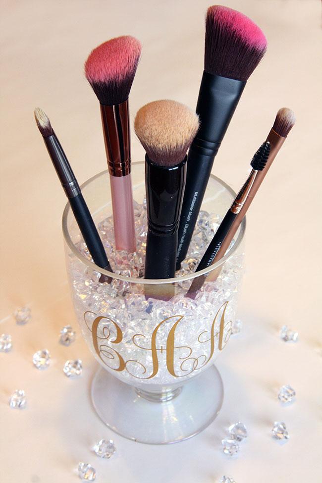diy monogrammed makeup holder