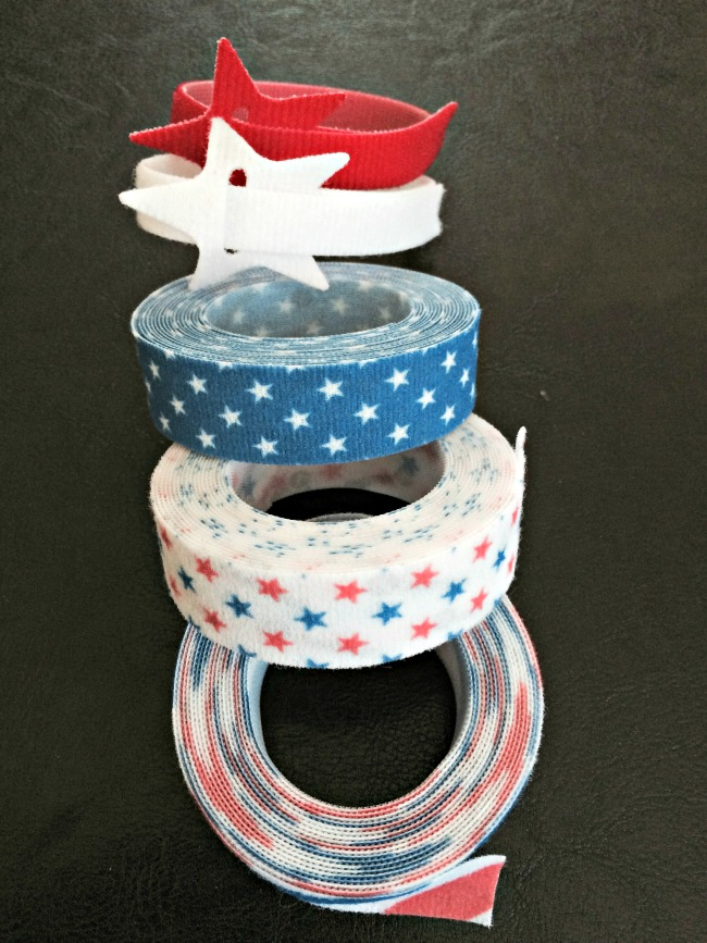 red, white and blue velcro for Memorial Day and Fourth of July