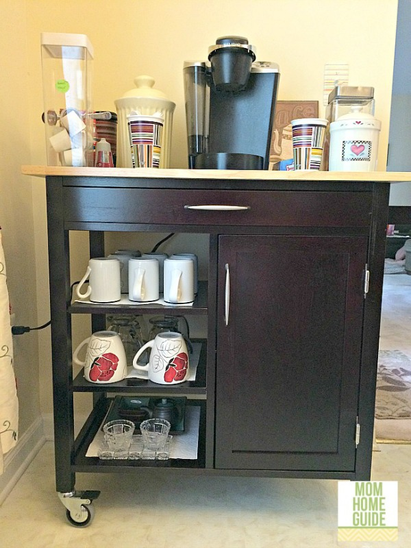 A kitchen cart can be used a very useful coffee and tea beverage station for the kitchen!