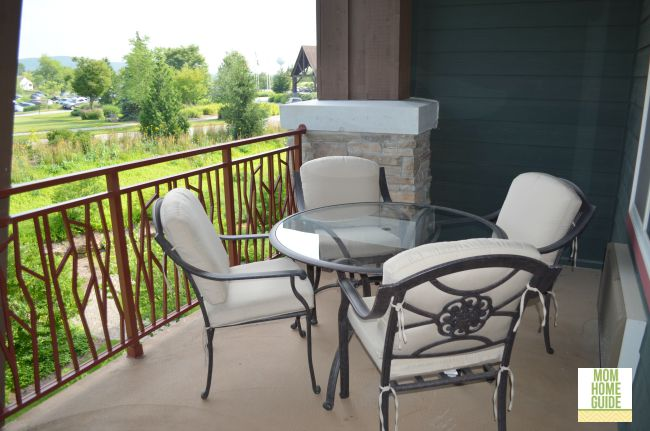 The balcony for my family's hotel suite at Grand Cascades Lodge