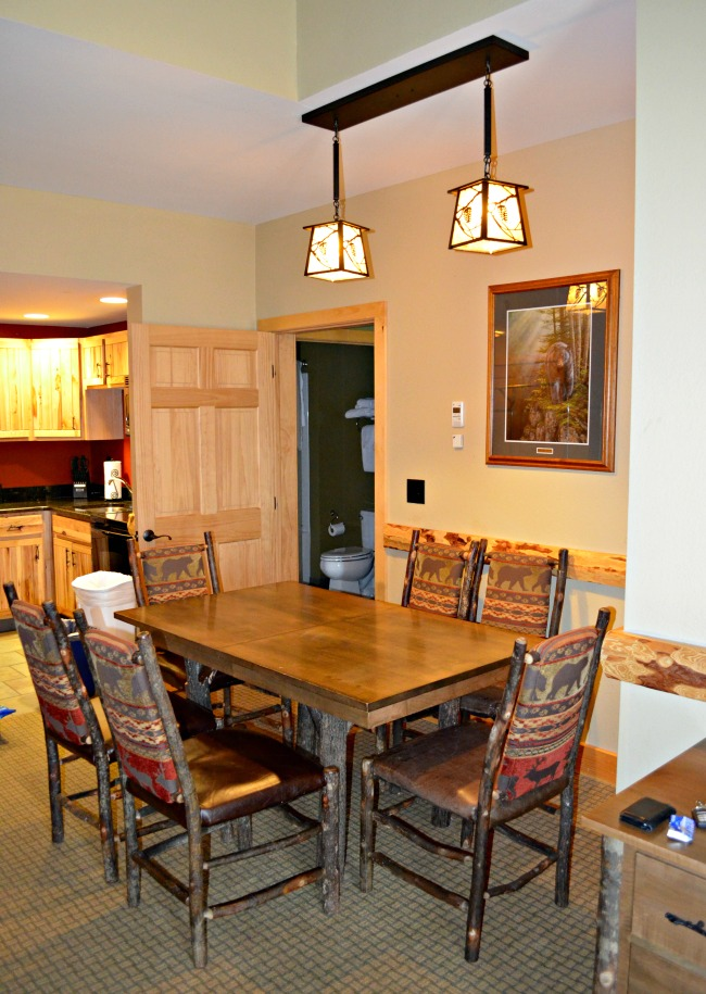 The dining and kitchen area of our Eagles Nest Suite