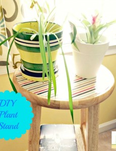 DIY Plant Stand from a bar stool and decorated with scrapbook paper