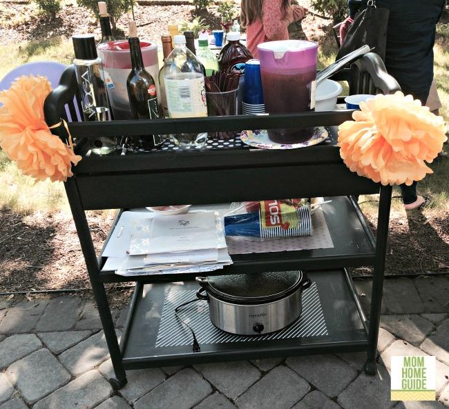 bridal shower beverage cart