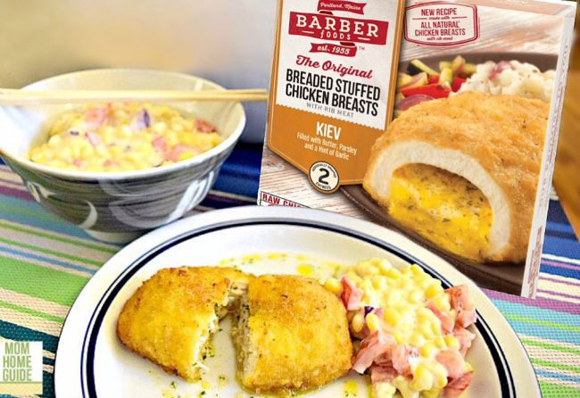 new barber foods chicken kiev with sweet corn salad recipe #shop