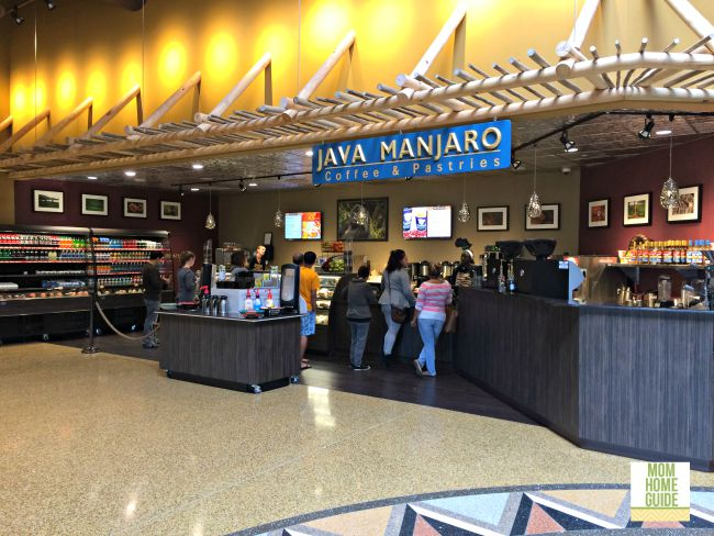 The coffee shop at the Kalahari water park resort in the Poconos has everything you need in the morning, from pastries, to coffee, to breakfast sandwiches.