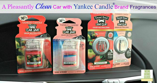 Yankee Candle Brand fragrances for the car give your car a fresh scent. I like Macintosh for the fall!