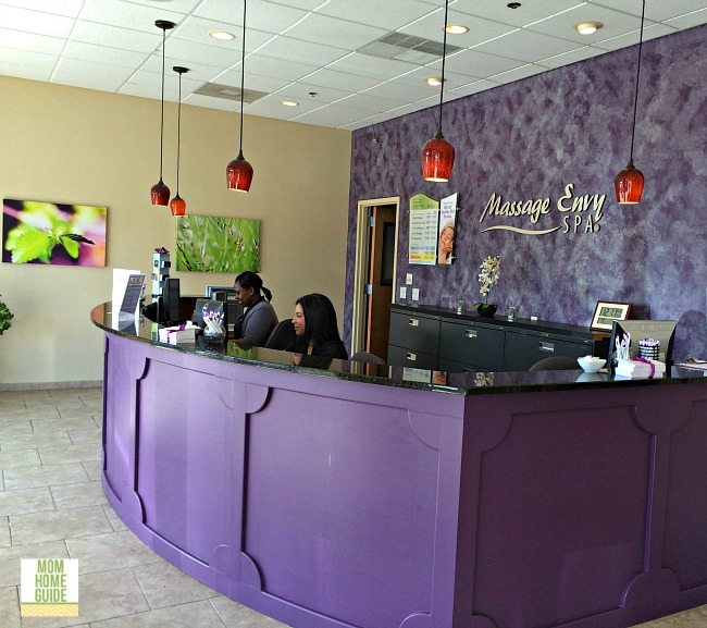 The reception area at the Massage Envy spa in Robbinsville is beautiful.