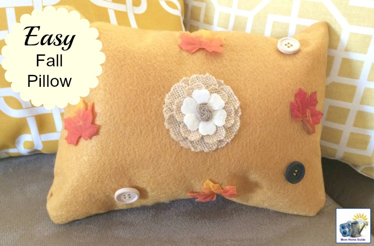 I love this easy fall pillow craft for adding autumn color to a living room!