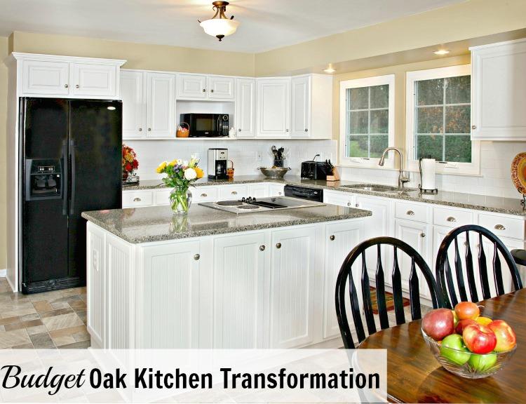 Budget oak kitchen to white kitchen remodel