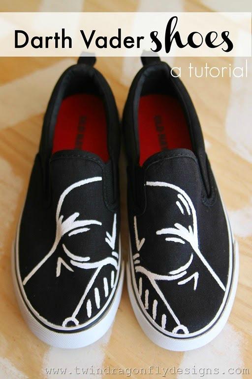 DIY Darth Vader canvas sneakers