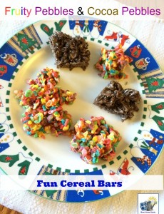 fruity pebbles and cocoa pebbles marshmallow cereal bars