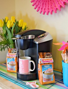 A kitchen cart makes a perfect coffee beverage station for winter entertaining