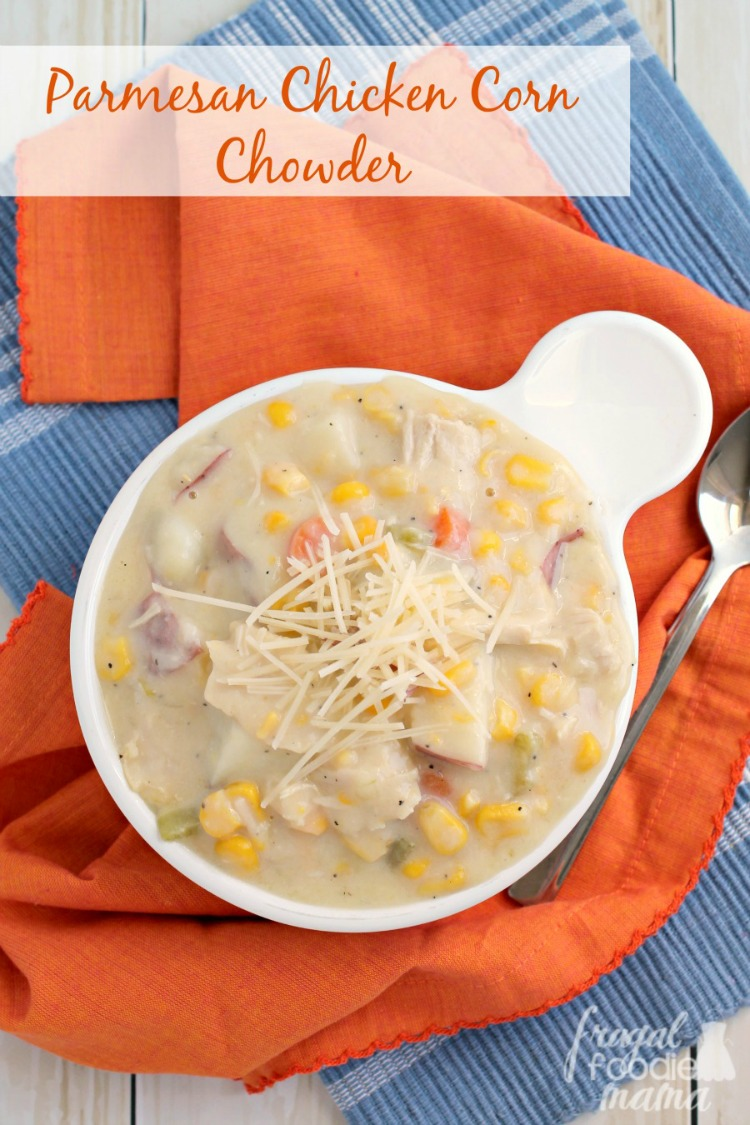Chicken Corn Chowder recipe to serve at a game day party for Super Bowl Sunday!