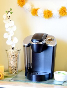 A cute coffee beverage station decorated for spring