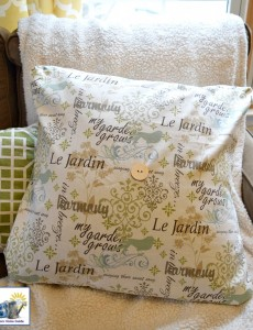 Envelope pillow cover with a French and garden print