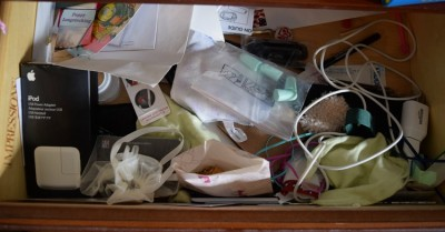 messy nightstand drawer