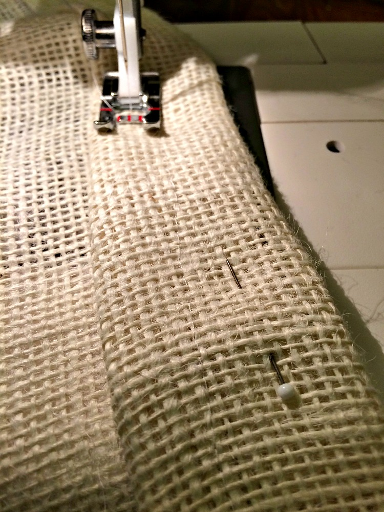 hemming burlap curtain