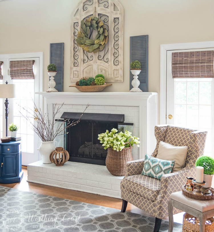 spring living room and fireplace