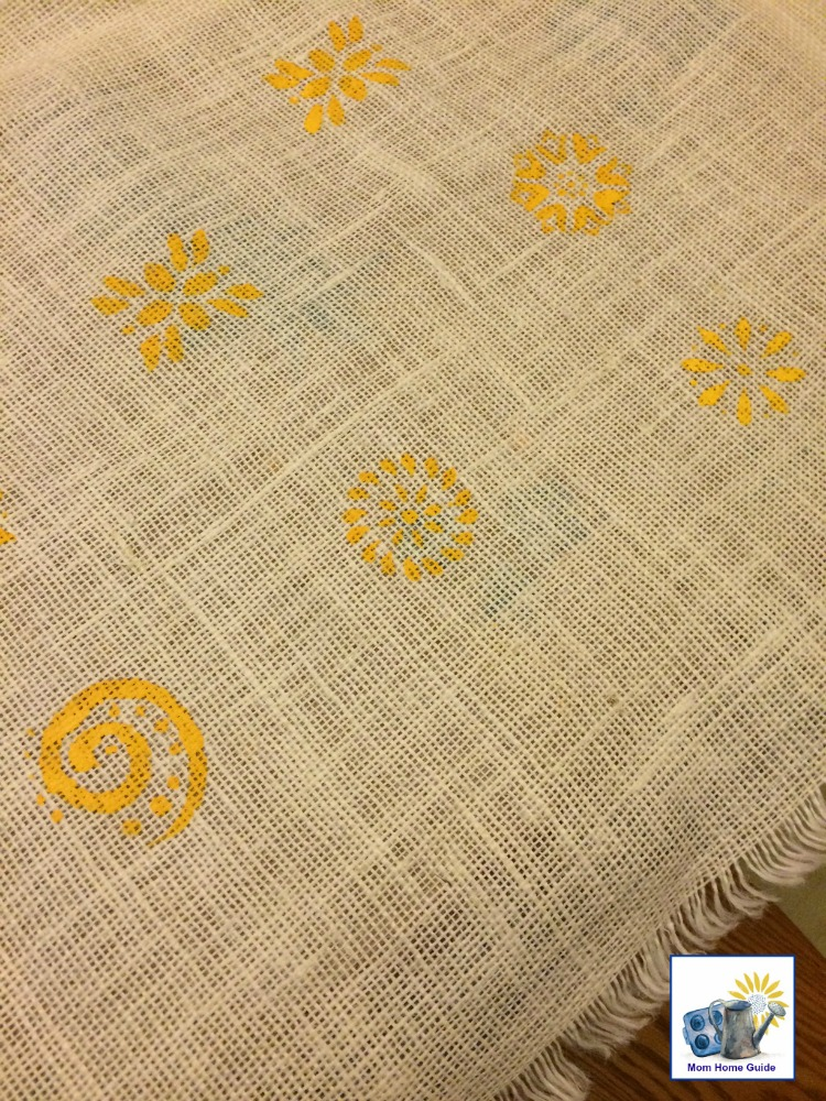 yellow stenciled burlap