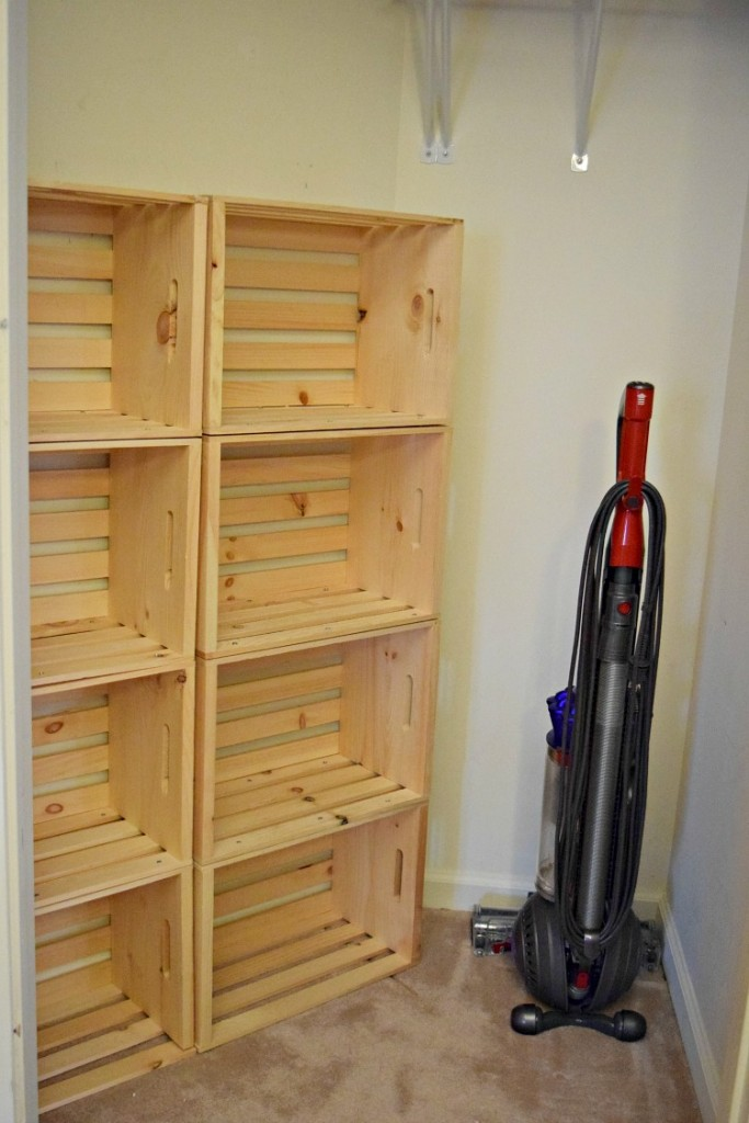 Wood crates make great storage in a clost
