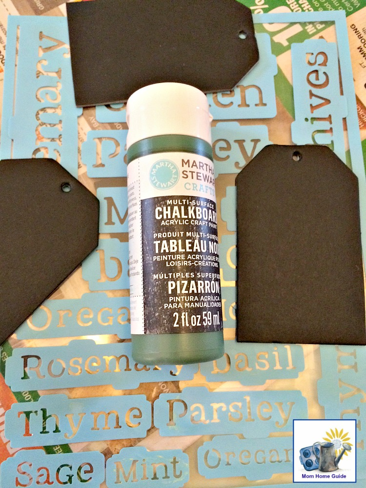 Acrylic paint and DecoArt herb stencils