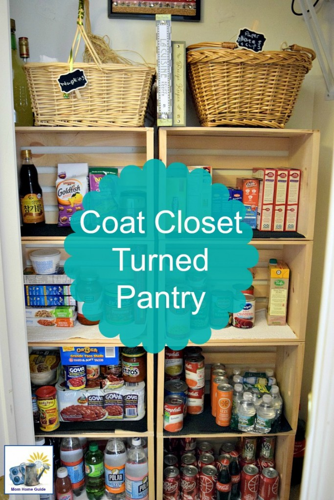 Check out this beautiful and easy way to convert an ordinary coat closet into a pantry! #organize #kitchen #pantry #closet