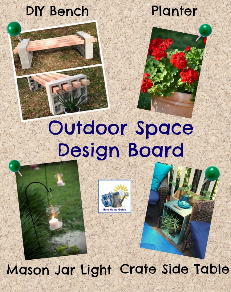 Curb appeal design board with container gardens for shade