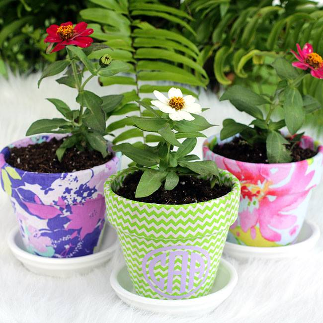 Monogrammed fabric pots