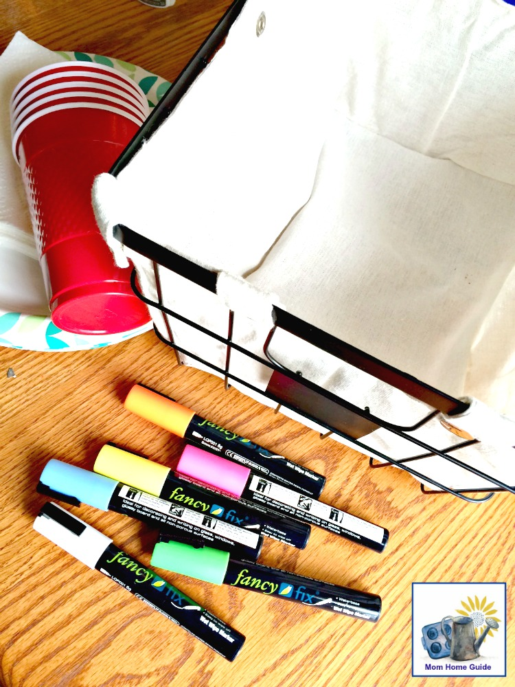 supplies needed to make patio caddie for carrying paper plates, cups, napkins, etc