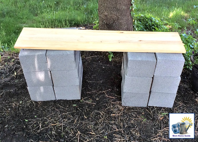 DIY wood and concrete block bench