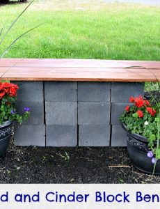 This DIY cinder block and wood bench is an easy and inexpensive way to build a beautiful outdoor bench!