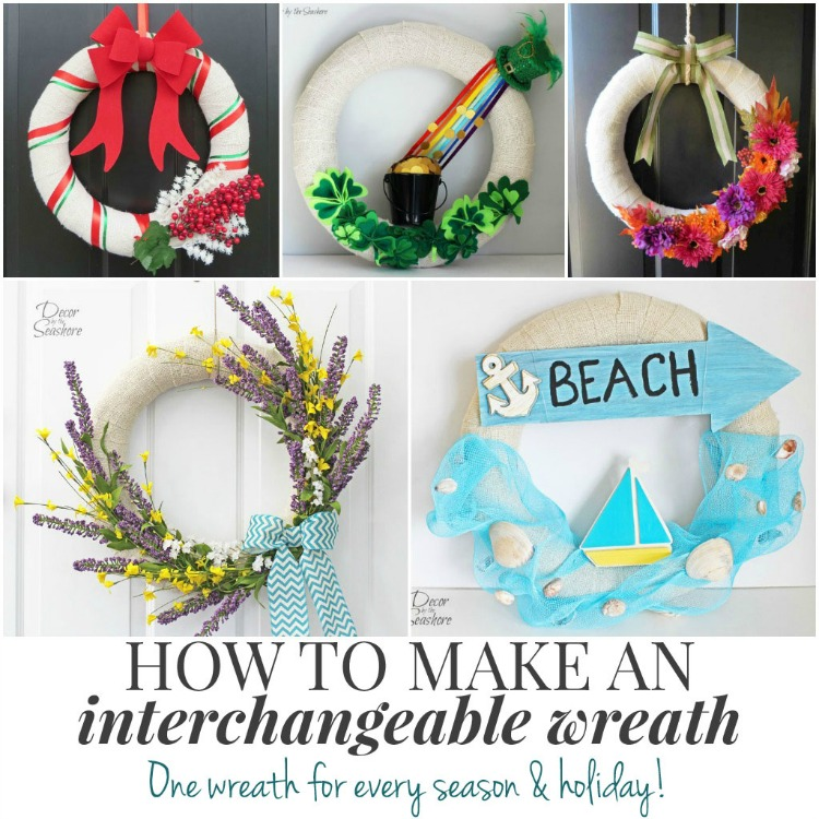 Interchangeable wreaths by Decor by the Seashore