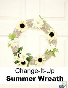 chnage-it-up seasonal summer burlap wreath with sunflowers