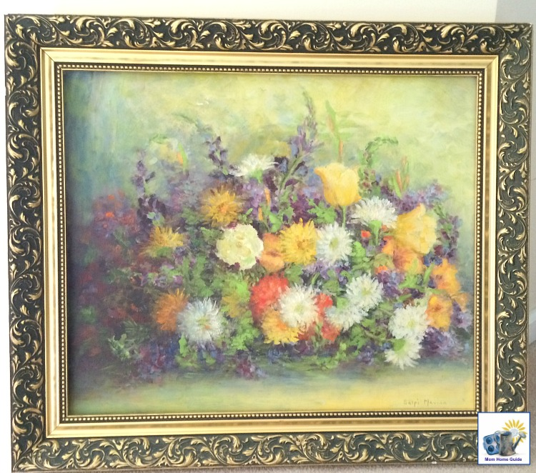 Old oil painting in a heavy gold frame -- this frame is perfect for an upcycled or DIY project