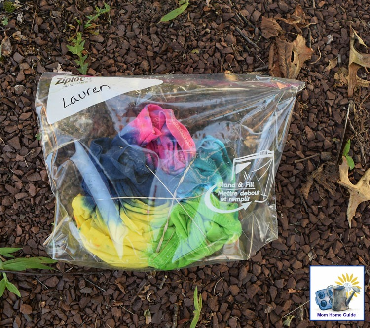 Store tie dyed shirts in a plastic bag overnight to let the dye set in