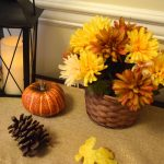 Fall Console Table with Lanterns and Pumpkins