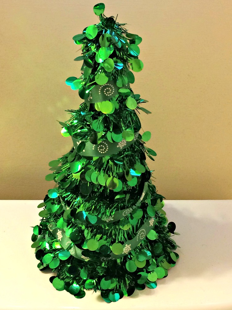Dollar store Christmas tree for a bathroom
