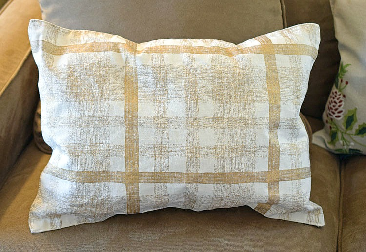 Gold and white plaid pillow made from a pillowcase