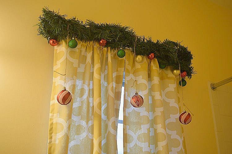 Christmas garland for a bathroom window for Christmas