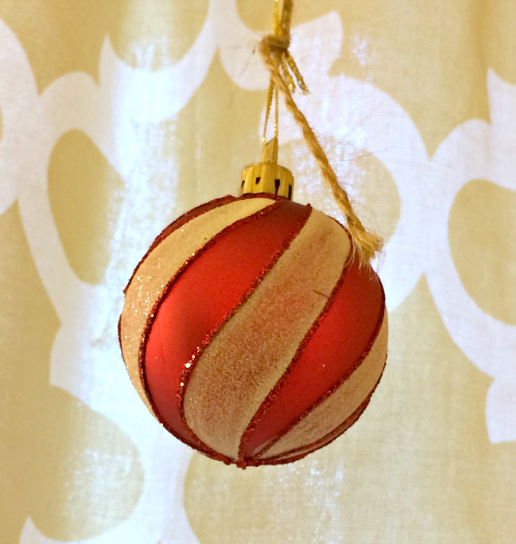 red and white christmas ornament