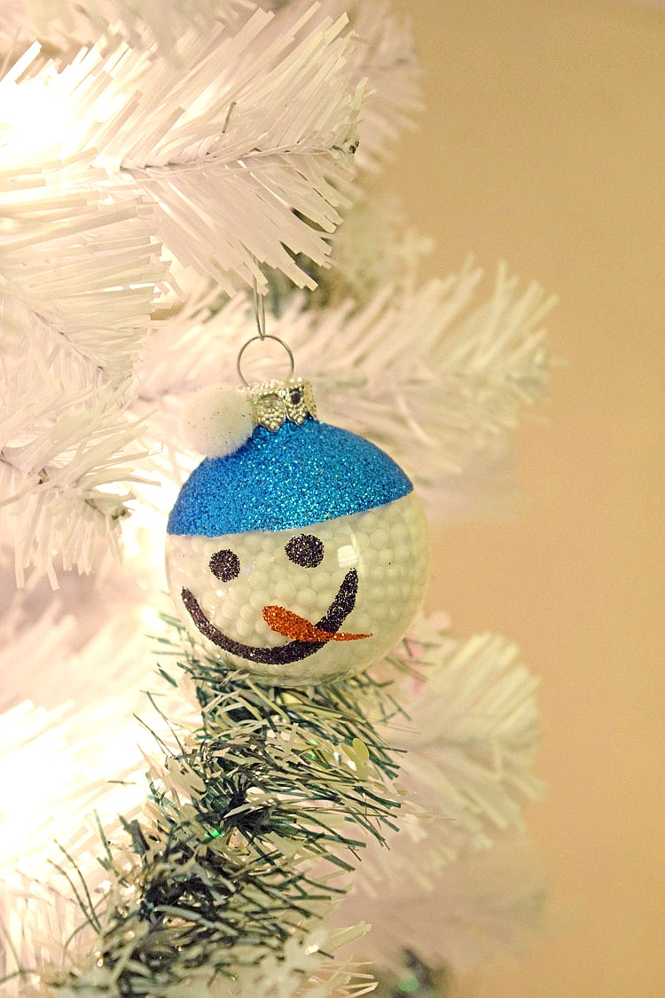 cute snowman ornament -- perfect for a white Christmas tree!