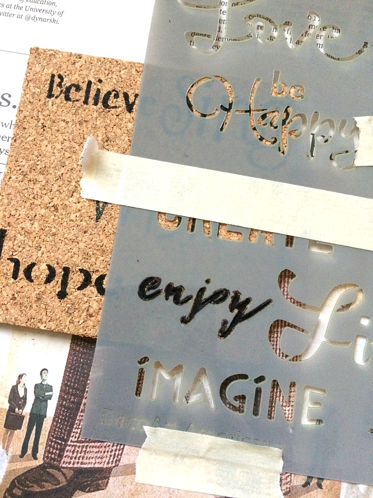 Stenciling cork coasters for holiday get-togethers