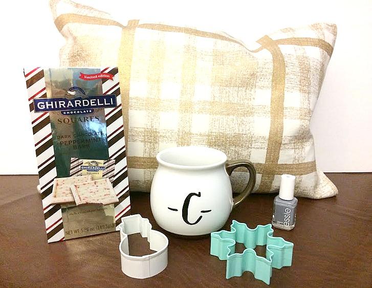 handmade pillow, chocolates, cookie cutters, monogram mug